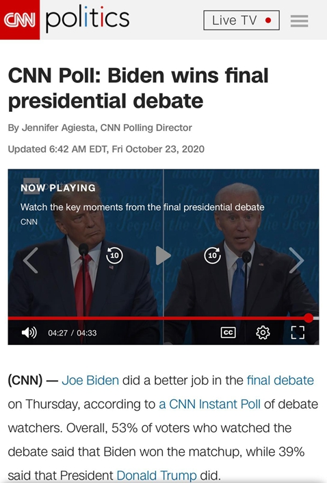 CNN 民調顯示53%人認為拜登的辯論表現較好。