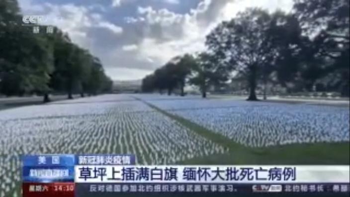 华盛顿草坪上插满白旗,缅怀大批死亡病例。