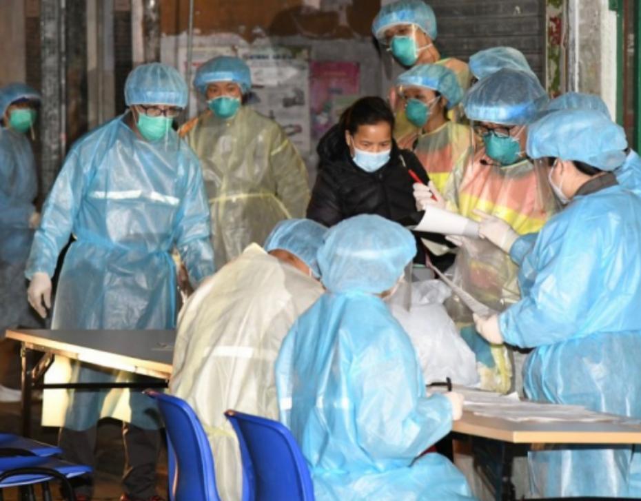政府撤離油麻地新填地街居民到檢疫中心。