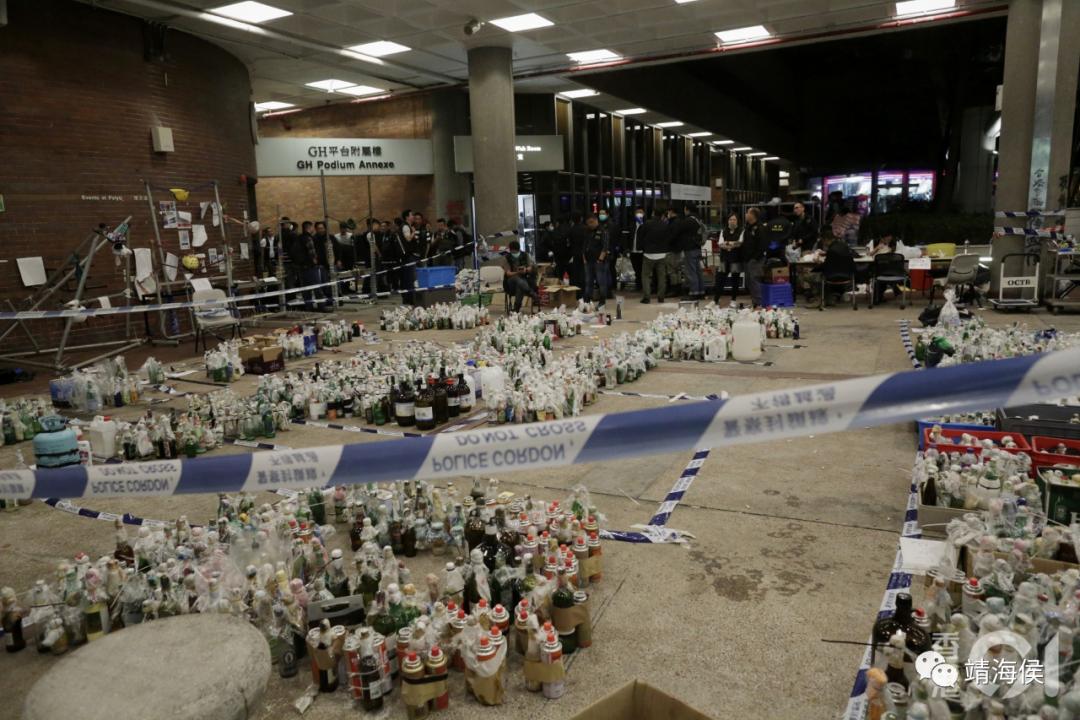 2019年11月28日,理工大学自17日起遭警方围封第12天后,警方于校内搜出3800枚汽油弹。图片:香港01