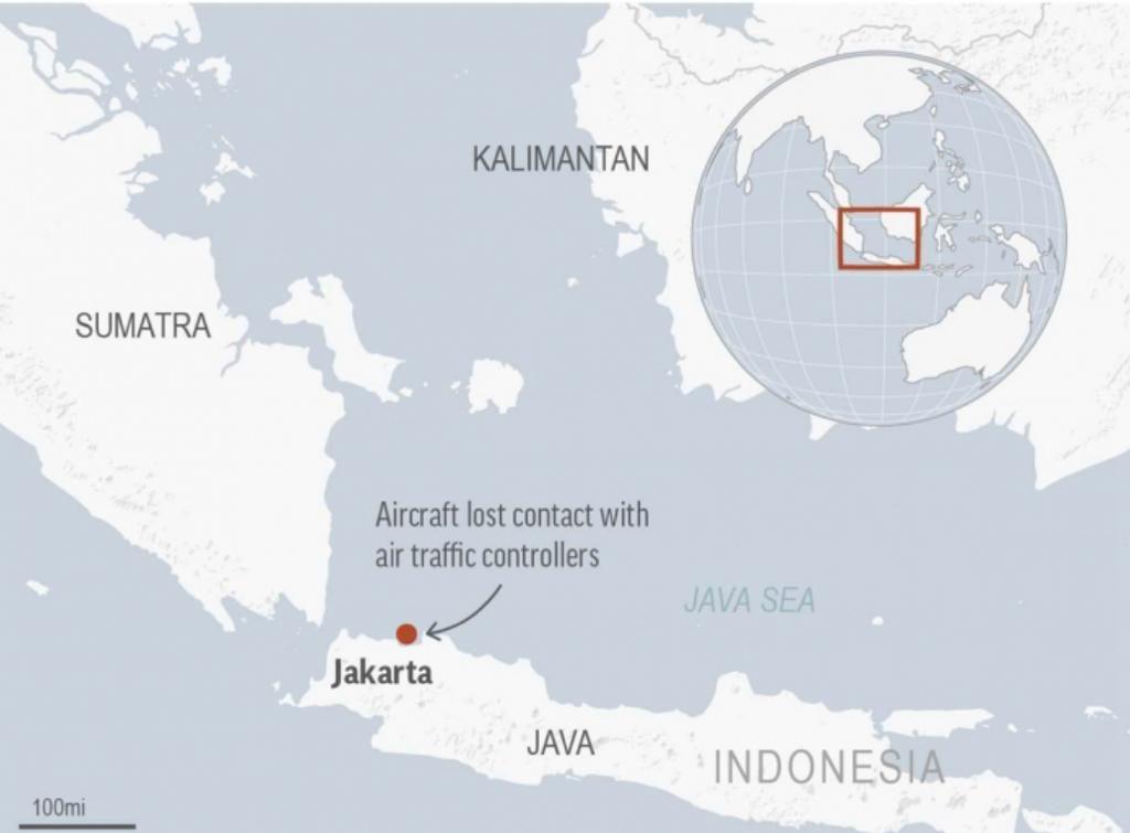出事印尼客機在雅加達起飛後4分鐘後失聯。AP圖