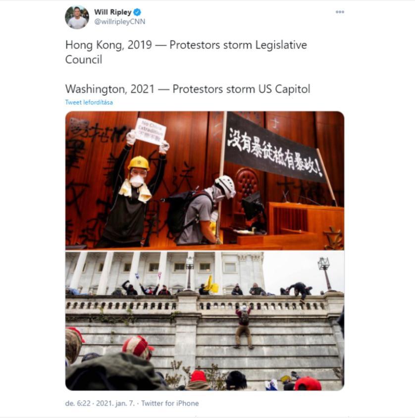 CNN記者對比2019年香港示威者佔領立法會和如今美國示威者佔領國會。