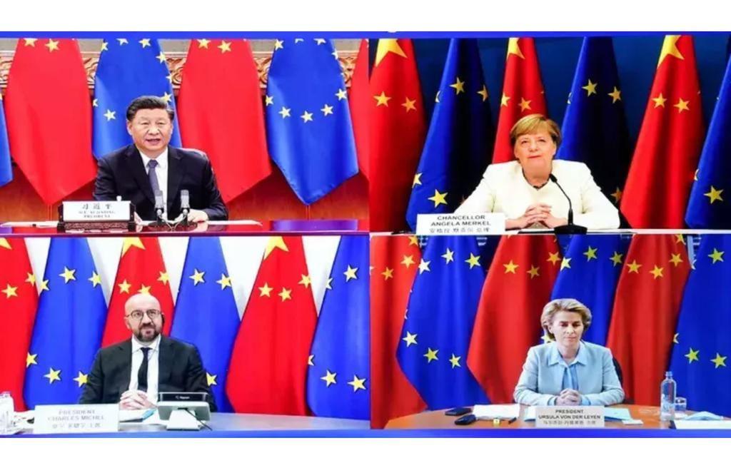習近平在去年9月中旬參加中歐視訊峰會時發表講話,大力推動中歐達成投資協議。右上起順時針分別為德國總理梅克爾、歐盟委員會主席馮德萊恩,以及歐洲理事會主席米歇爾。新華社圖片