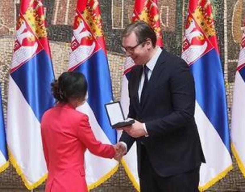 塞爾維亞總統向中國援助隊授勳。