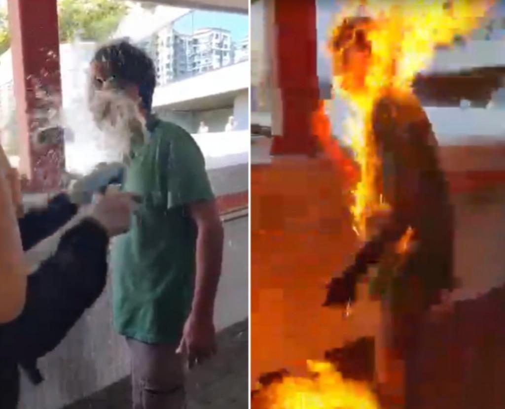 一名工人在馬鞍山被蒙面示威者放火燒至重傷。