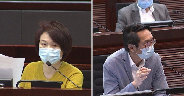 民建聯主席李慧琼(左)及工聯會陸頌雄(右)在立法會上提問。港台圖片