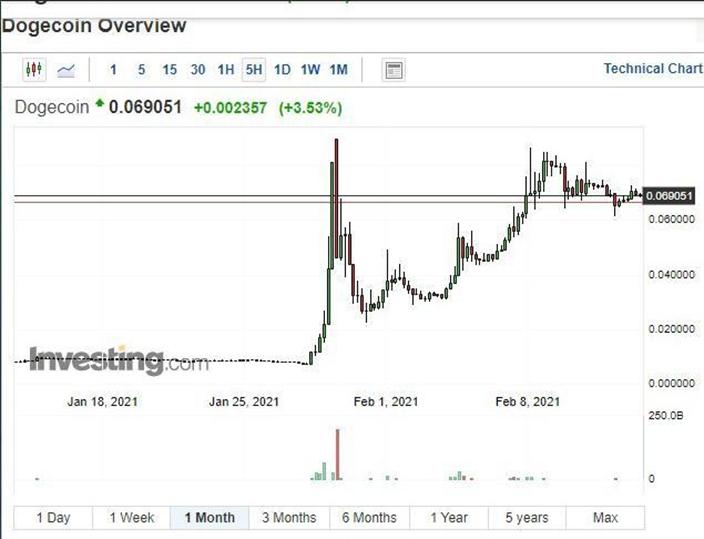 马斯克(Elon Musk)推广了狗狗币dogecoin后,价格由1月27日的0.0076美元,急升至2月8日0.08美元水平,升幅达9.5倍!