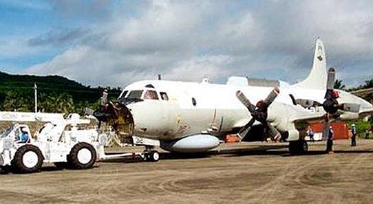 相撞后逼降在海南岛的美方EP-3战机