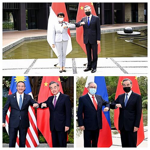 王毅与多个东盟国家外长在福建会面。