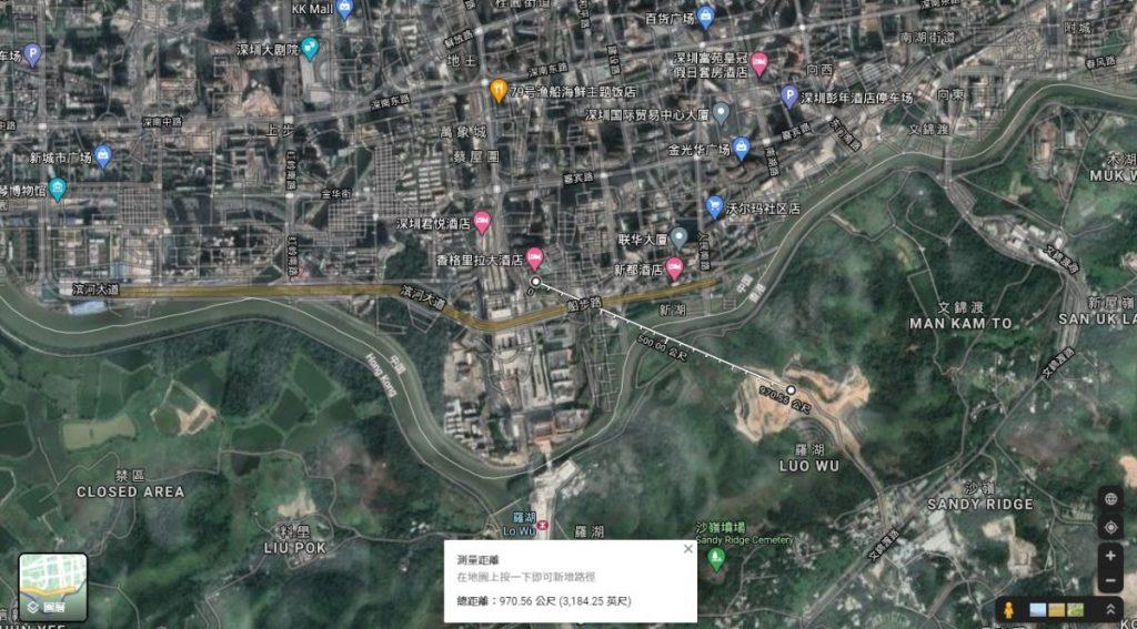沙嶺殯葬城地盤距離深圳羅湖的商業購物區只有數百米。Google地圖截圖