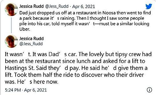 陆克文的女儿于社交网站分享该则趣事。