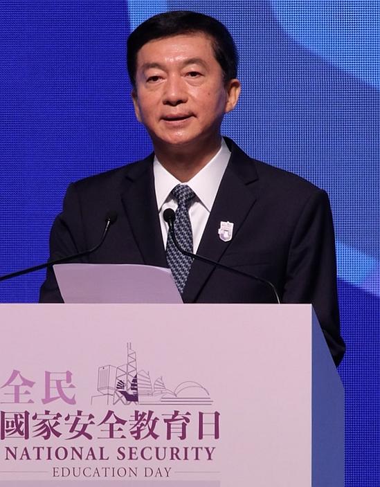 身兼香港國安委顧問的中聯辦主任駱惠寧在香港國安日開幕式上致詞。