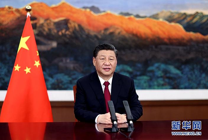 習主席在博鰲亞洲論壇發表視像演講。新華社圖片