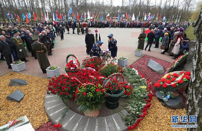 4月26日,白俄罗斯首都明斯克举行活动纪念切尔诺贝利核事故35周年。新华社图片