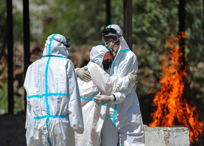 印度疫情非嚴重,可是未得到外國的足夠支授。(AP圖片)
