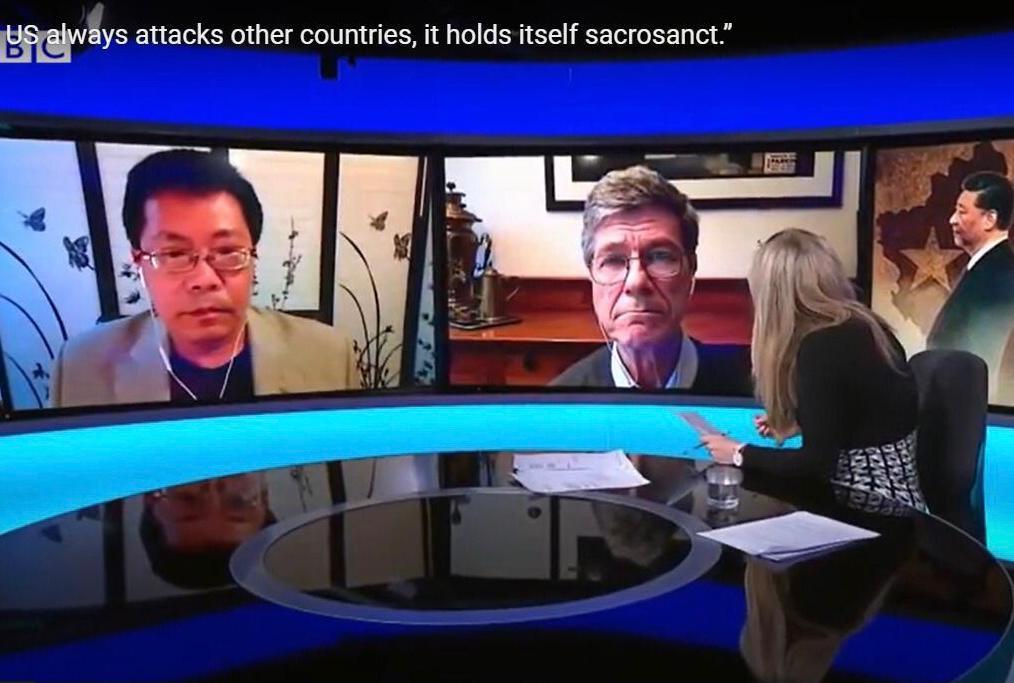 薩克斯(Jeffery Sachs)教授在接受BBC《新聞之夜》節目採訪。