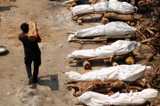 火葬場的停車場很小,但如今卻擺滿了屍體。