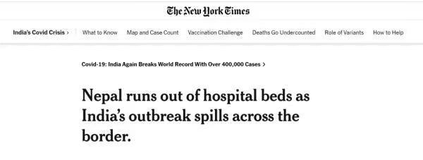 《紐約時報》報道尼泊爾疫情開始失控。