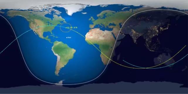長5 B火箭的飛行軌跡。