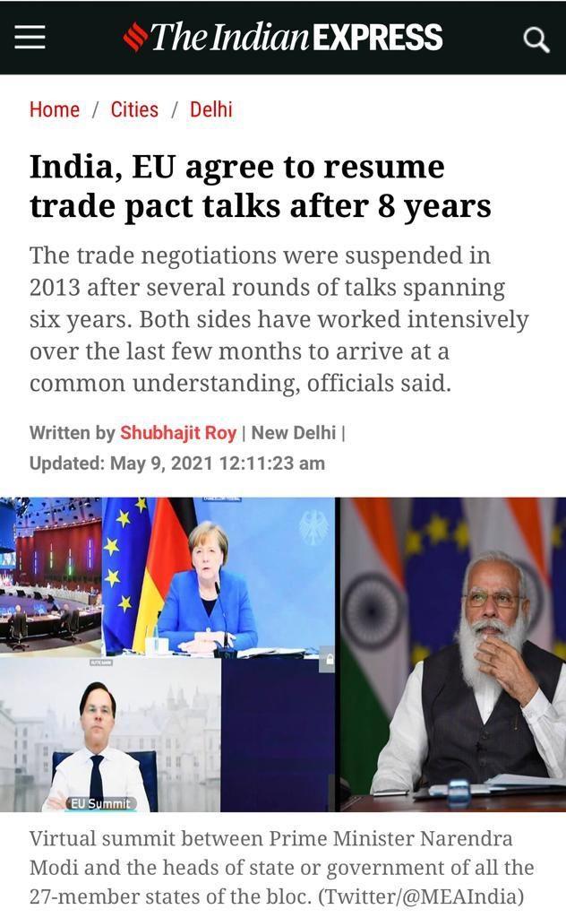 歐盟和印度召開領袖視頻會議。