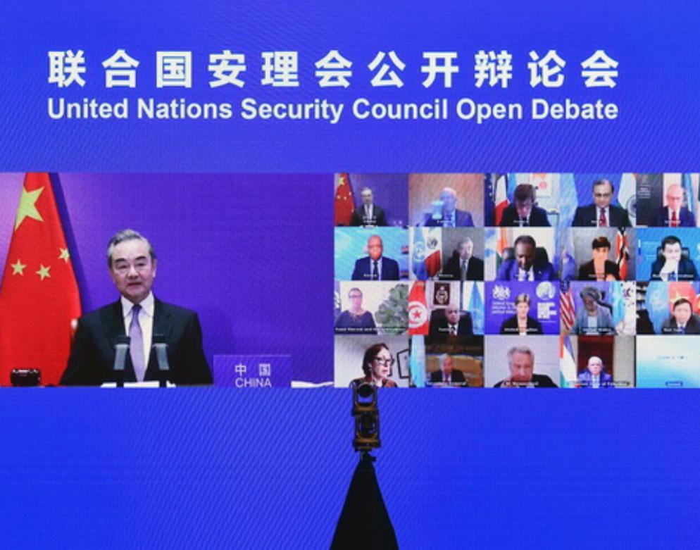 王毅主持聯合國安理會巴以沖突問題會議。