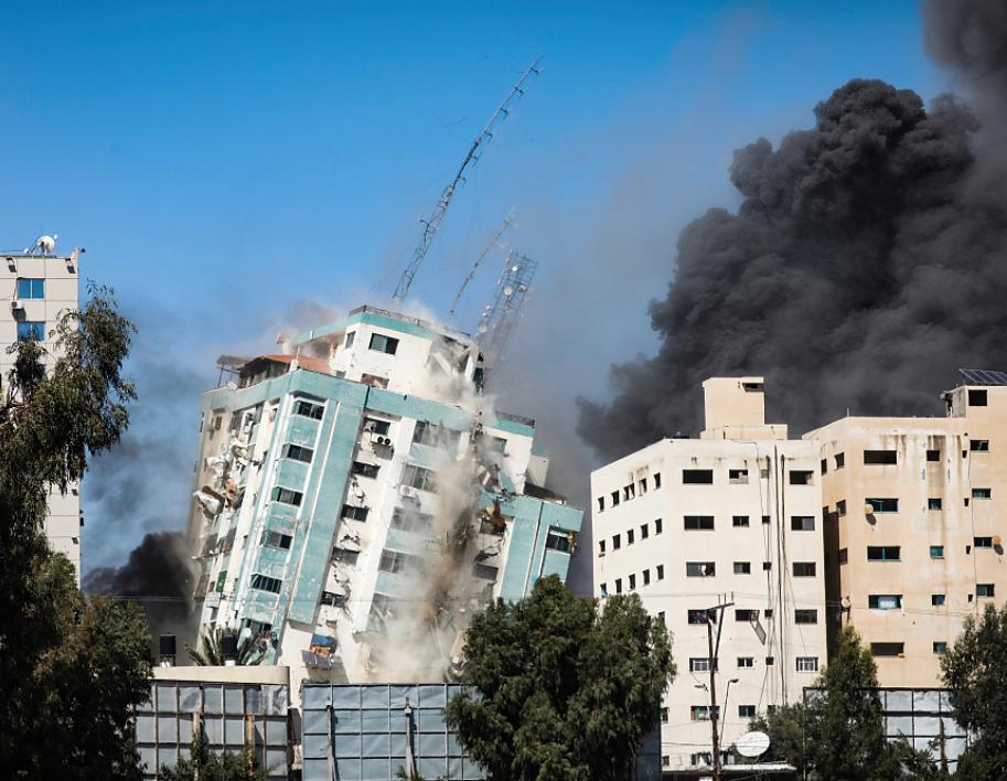 以色列轟炸的加沙地帶媒體大樓。