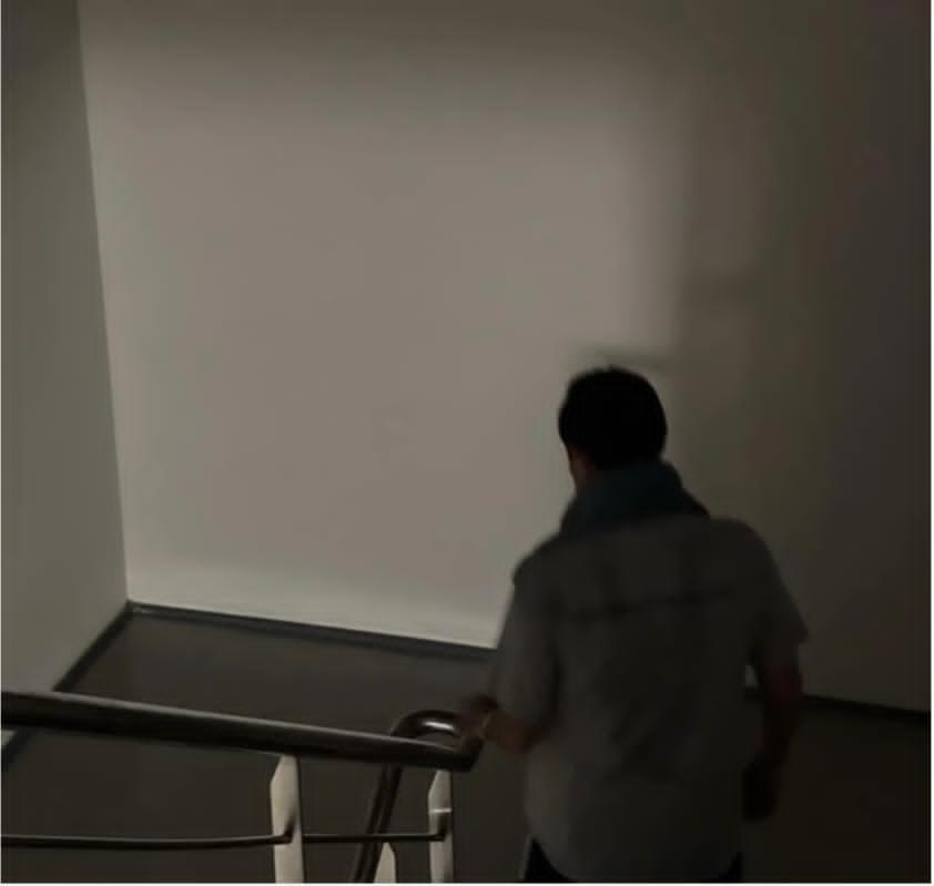 馬英九在臉書分享自己摸黑下樓的照片。