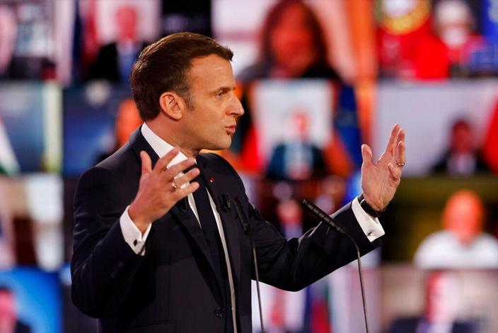法国总统马克龙力指美国疫苗行为不公平。(AP图片)