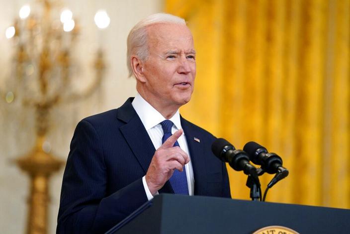 美國總統拜登的民主號召力被質疑。(AP圖片)