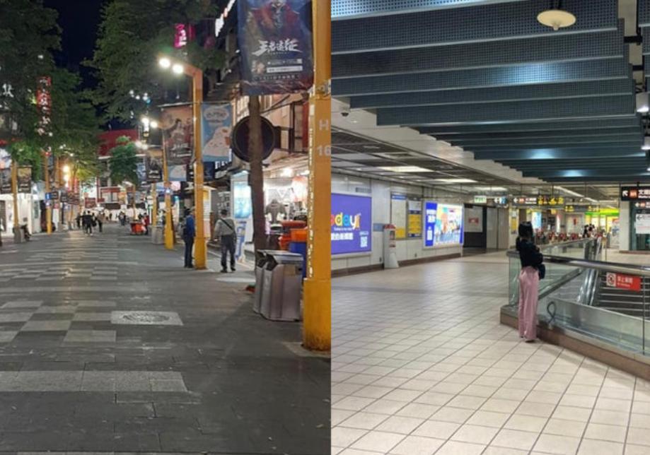 台北閙市人流大減。