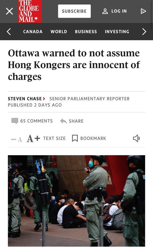 加拿大《环球邮报》的相关报道。