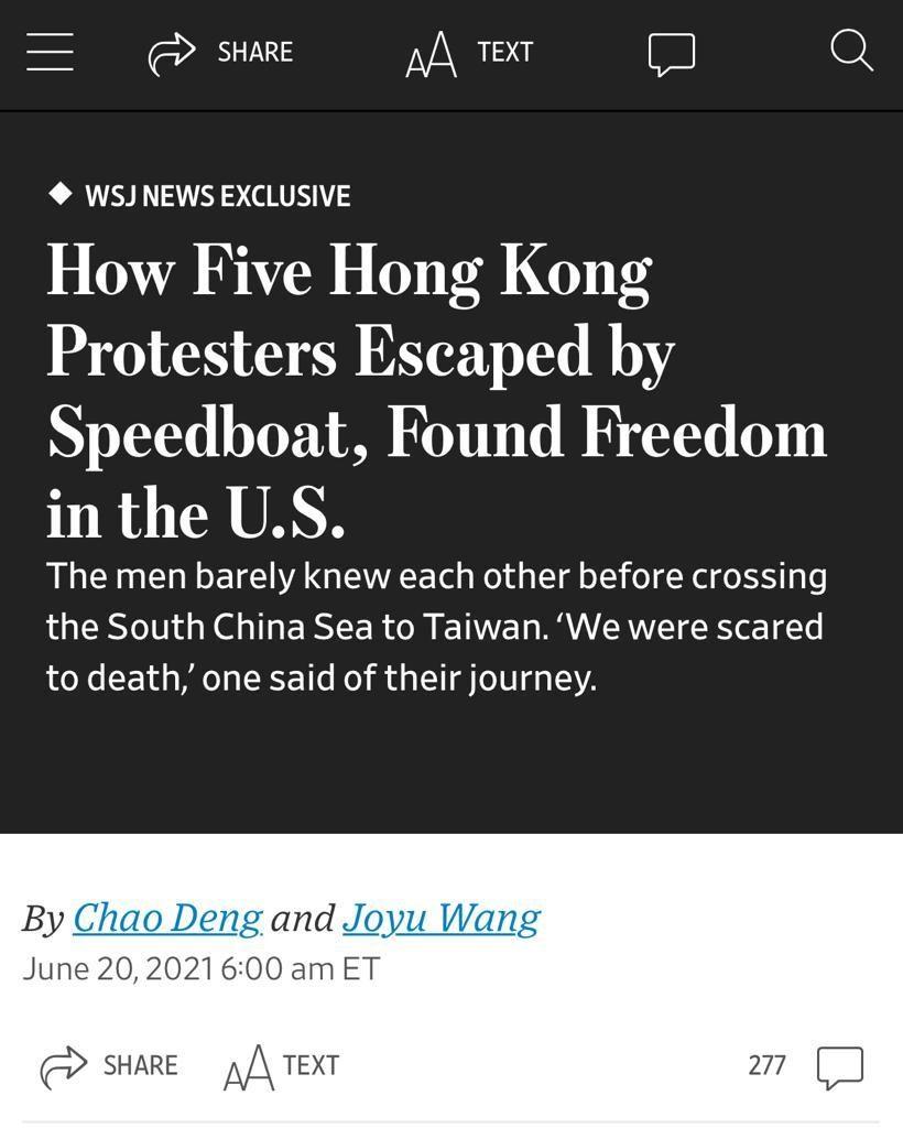 3个香港流亡份子接受《华尔街日报》访问。