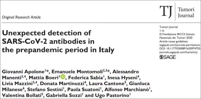 去年11月,意大利科學家在《腫瘤雜誌》上發表論文。