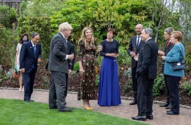 《每日新闻》称,在英国首相约翰逊等人畅谈时,菅义伟站在外围。
