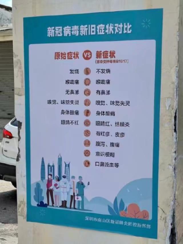 深圳市發佈的變種病毒症狀對比。