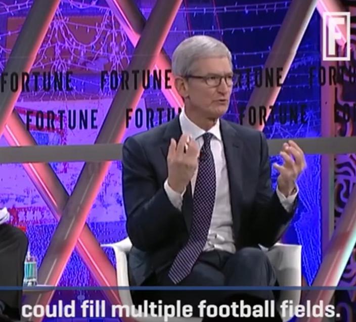 蘋果CEO庫克在2017年財富全球論壇談中國工程師。(網上截圖)