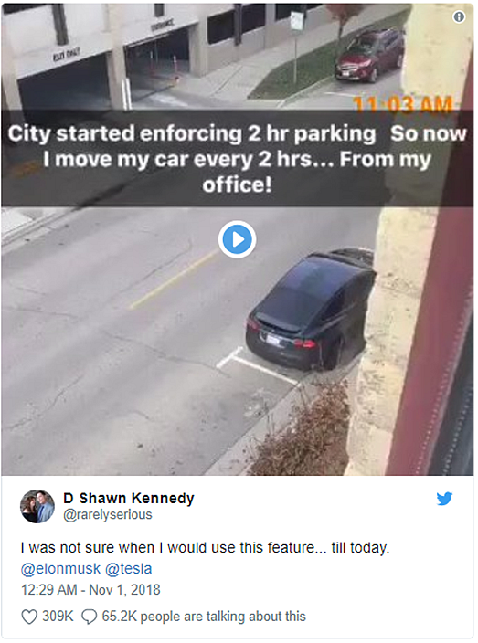 Tesla driver auto-parks car from office to avoid fine and