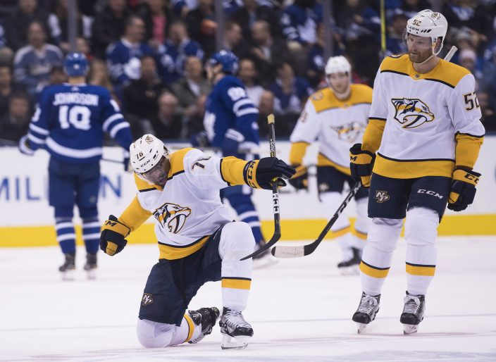 883ec5123 Nashville Predators defenceman P.K. Subban (76) celebrates his goal against  the Toronto Maple Leafs as teammate Matt Irwin looks on during  second-period NHL ...