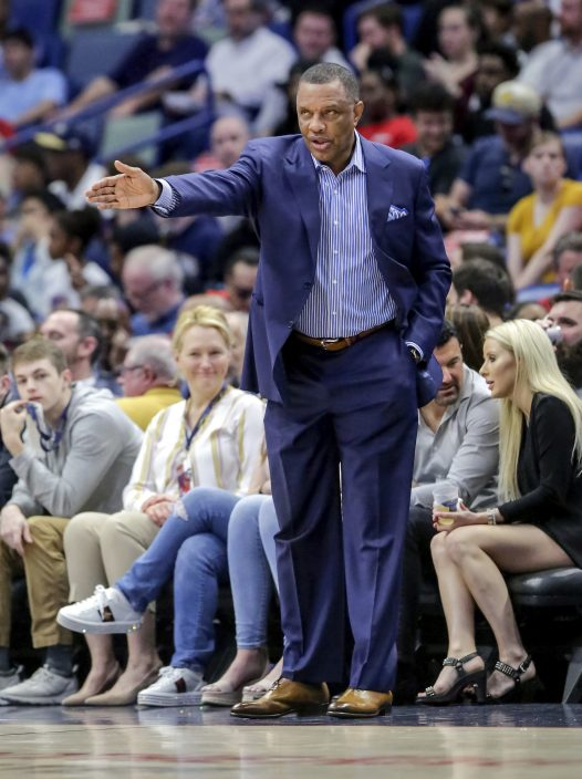 cdaa9aa4719 New Orleans Pelicans head coach Alvin Gentry talks to his players in the first  half of an NBA basketball game against the Golden State Warriors in New ...