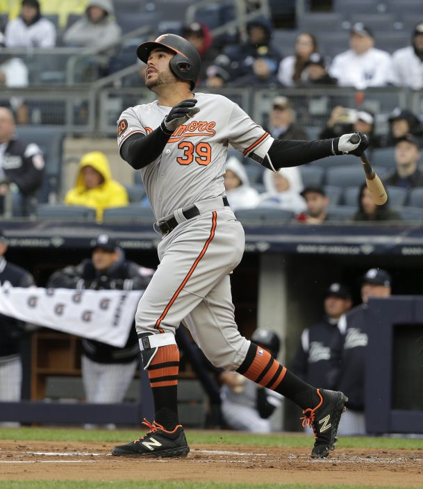 3ff0b7647 Baltimore Orioles  Renato Nunez watches his three-run home run during the  first inning of a baseball game against the New York Yankees at Yankee  Stadium