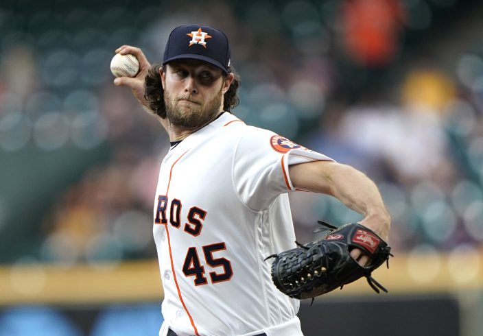 d6cb1220 Houston Astros starting pitcher Gerrit Cole throws against the Cleveland  Indians during the first inning of a baseball game Thursday, April 25,  2019, ...