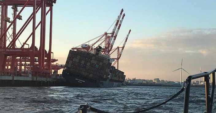 Container ship evacuated in Liverpool after sharp tilt | News