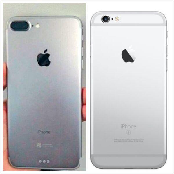 網傳iPhone 7機背(左)與iPhone 6s機背對比(網上圖片)