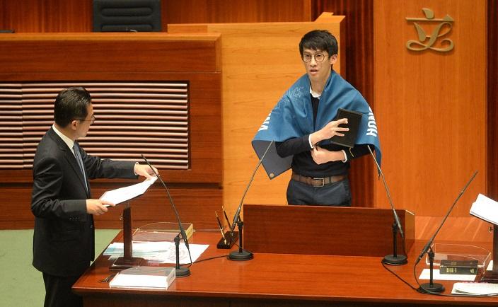 梁頌恆日前在立法會宣誓時使用支那字眼(資料圖片)