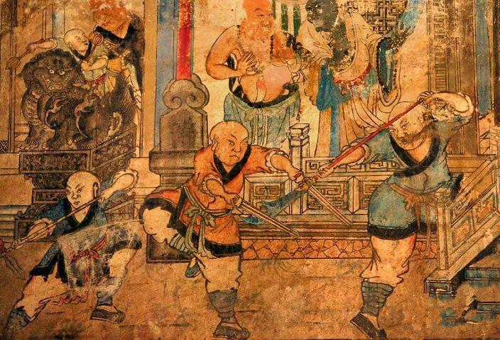 少林寺白衣观音殿明代壁画《少林武僧合练图》局部 (网上图片)