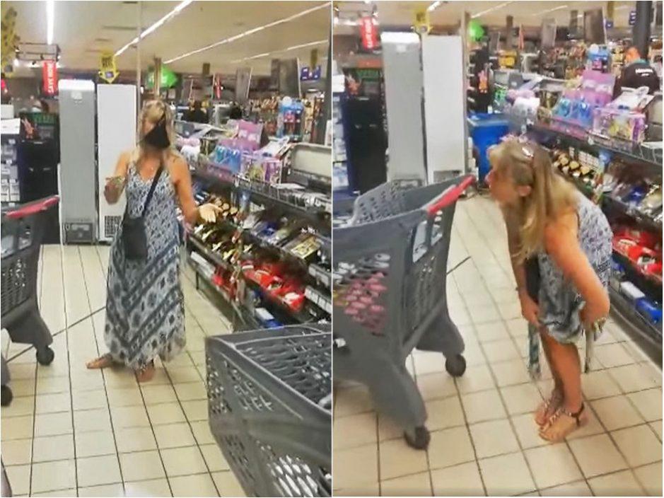 南非无罩女超市购物被劝 竟脱内裤戴上脸当口罩