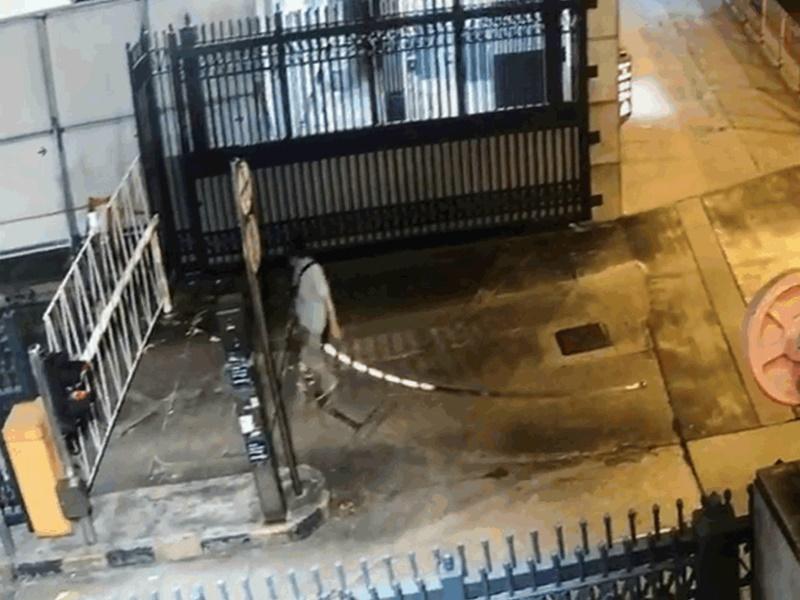【有片】男子闯观塘警署停车场铁锤袭警 警拔枪戒备喷椒制服