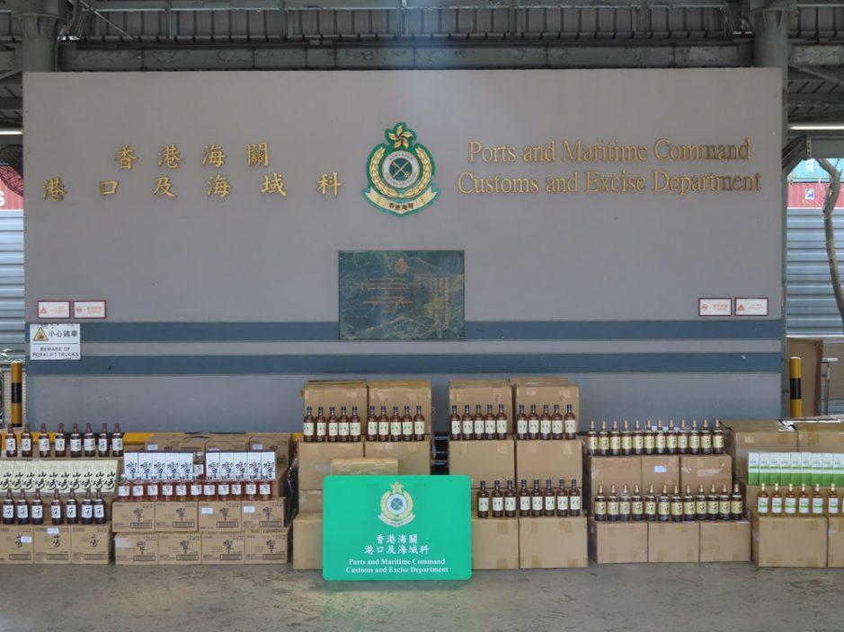 海关检获2610支怀疑未完税烈酒 市值约310万