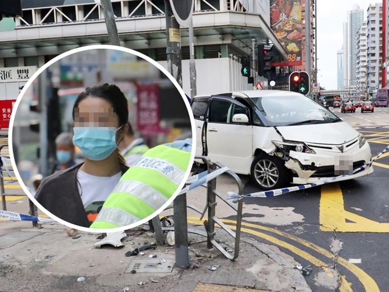 """旺角私家车疑失控撞栏 女子自称司机遭揭""""顶包""""被捕"""