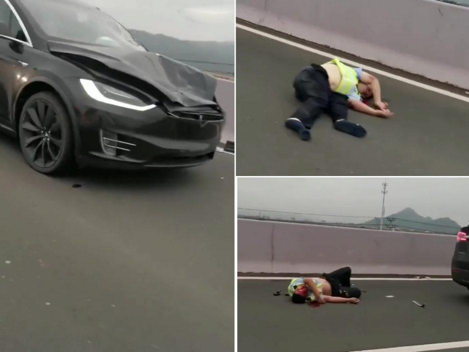 浙江两交警处置交通事故时 被Tesla电动车撞飞